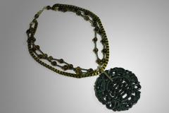 Colgante jade y cadena cuadrada