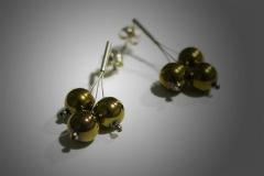 pendientes 3 bolas doradas