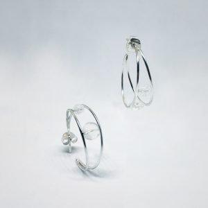 Pendientes de doble aro con cristal x2 roca